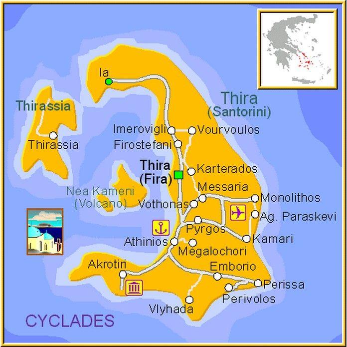 Map Of Santorini With Major Places Beaches Santorini Map