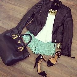 Mini short & leather jacket  My outfit this night