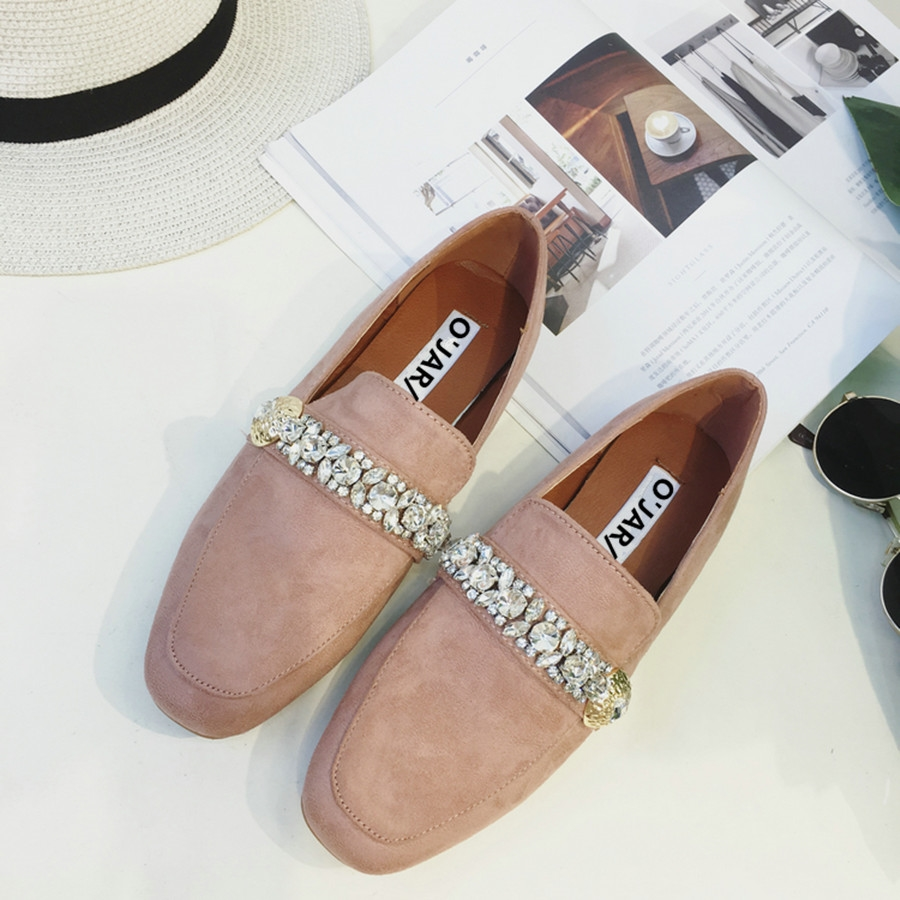 (35.00$)  Know more  - 2017 Spring Square Head Suede Material Women Flats  Fashion Rhinestones Buckle Women Casual Shoes  Dropping Shipping Size 35-39