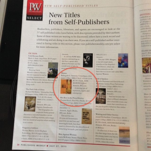 #HIATUSnovel by Belangela G. Tarazona in Publishers Weekly www.bg-tarazona.net