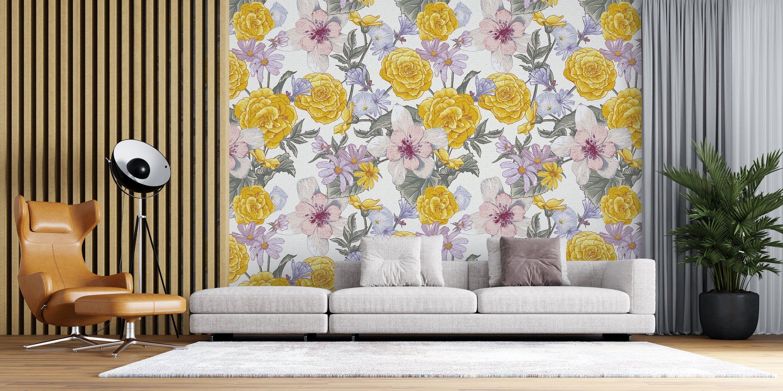 Removable Wallpaper Wildflower Floral Peel And Stick Wallpaper Wall Mural Reusable Wall Art Self Adhesive Wallpaper Retro Wallpaper Wall Murals Wallpaper