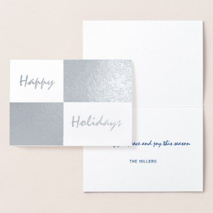 Happy Holidays Silver Foil and White Rectangles Foil Card - pattern - Sample Cards