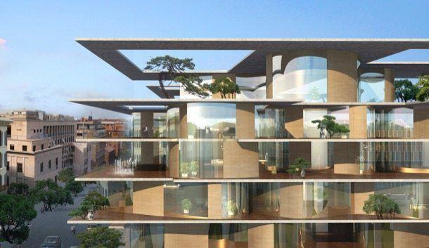 Arquitectura con vegetaci n para un bloque de roma for Palazzine moderne