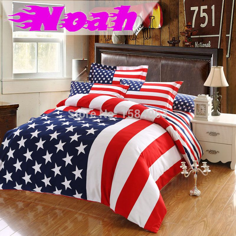 USA flag bedding set king size American Pie cotton bed