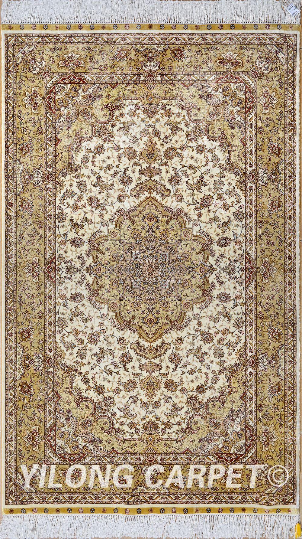 Yellow Persian Rug Oriental Turkish Carpet Silk Tabriz Rugs Hereke Area Materials