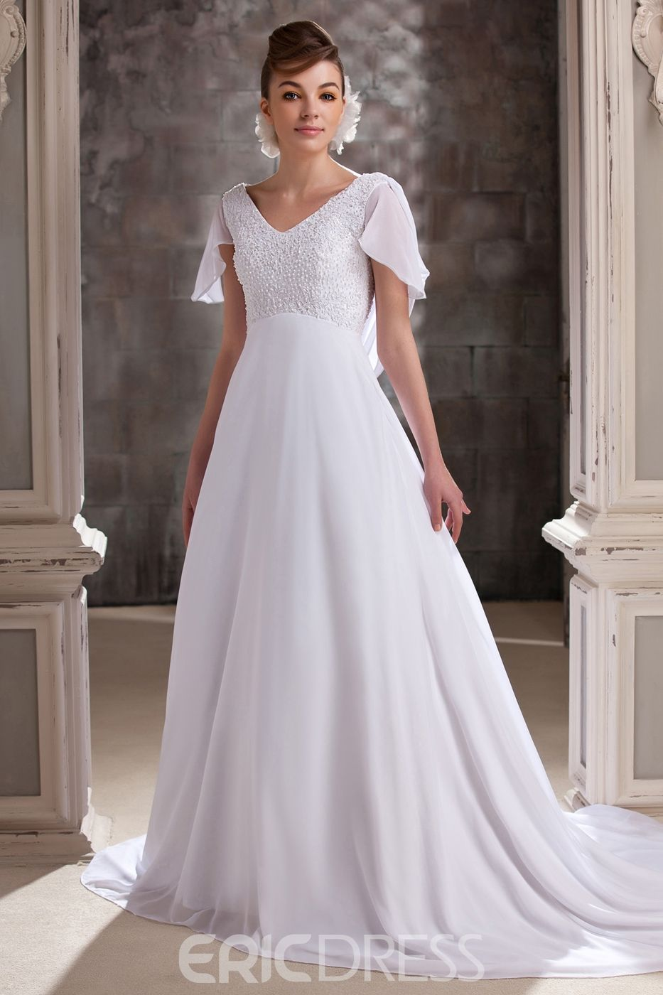Pretty aline vneck shortsleeves chapel plus size wedding dress in