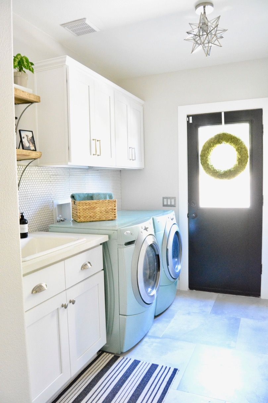 Fish And Arrow Interiors Janna Parr Laundry Room Black Door White