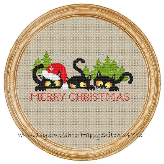 Cross Stitch Pattern PDF christmas cats with christmas tree DD0189