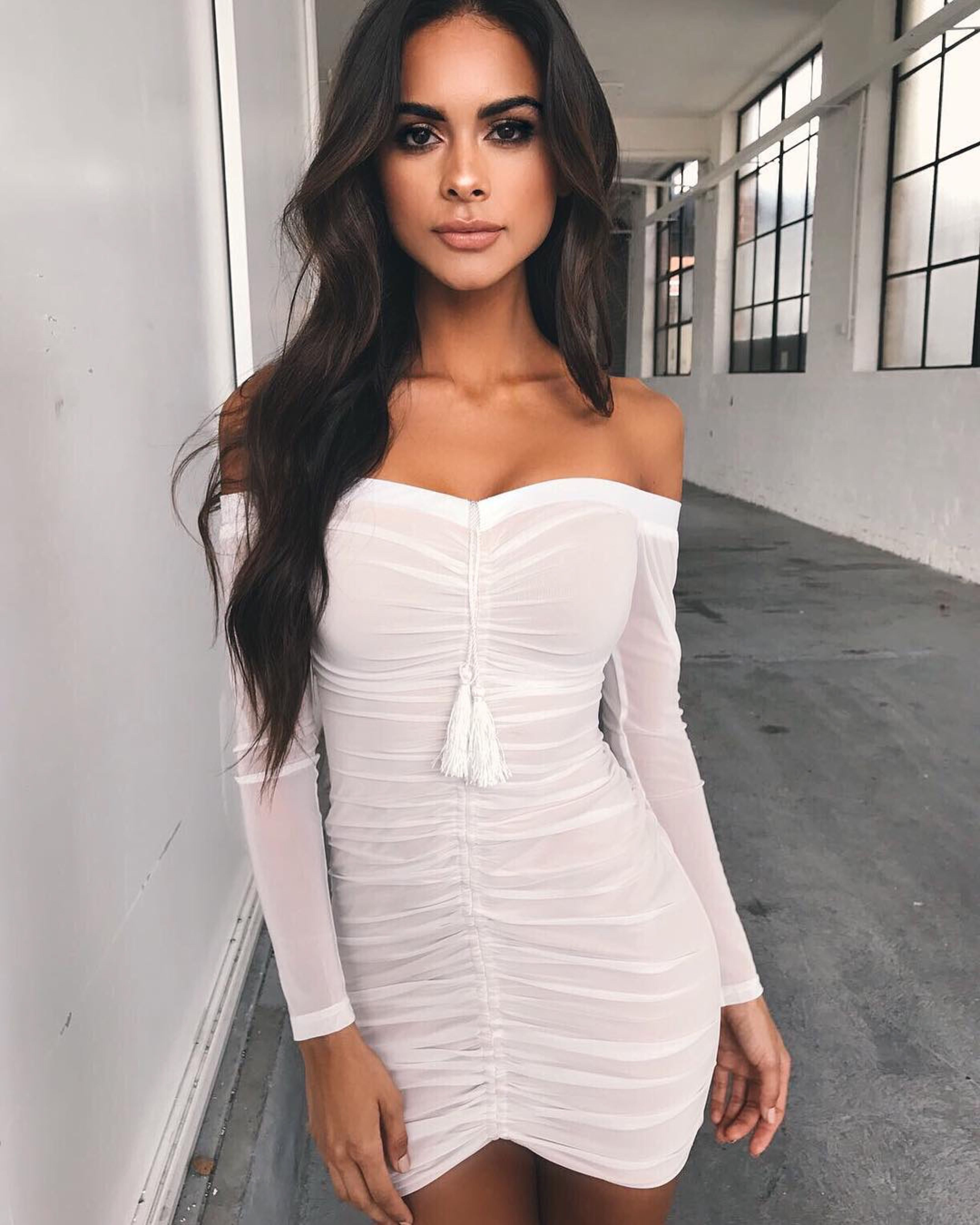 748ef002e0f White Long Sleeve Bodycon Dresses - Gomes Weine AG