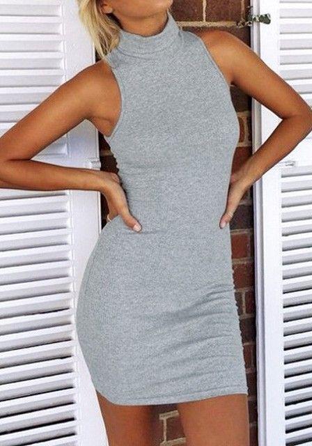 5c09f08e169b0d Grey Sleeveless Turtleneck Dress | Retail + Therapy | Fashion ...