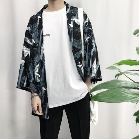 2018 summer men cotton & linen streetwear kimono Crane Printed Chiffon Shirt Sun Protection Outerwear Japanese Cardigan kimono