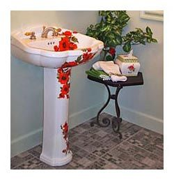 Charmant Oriental Poppies Hand Painted Pedestal Sink In Powder Room