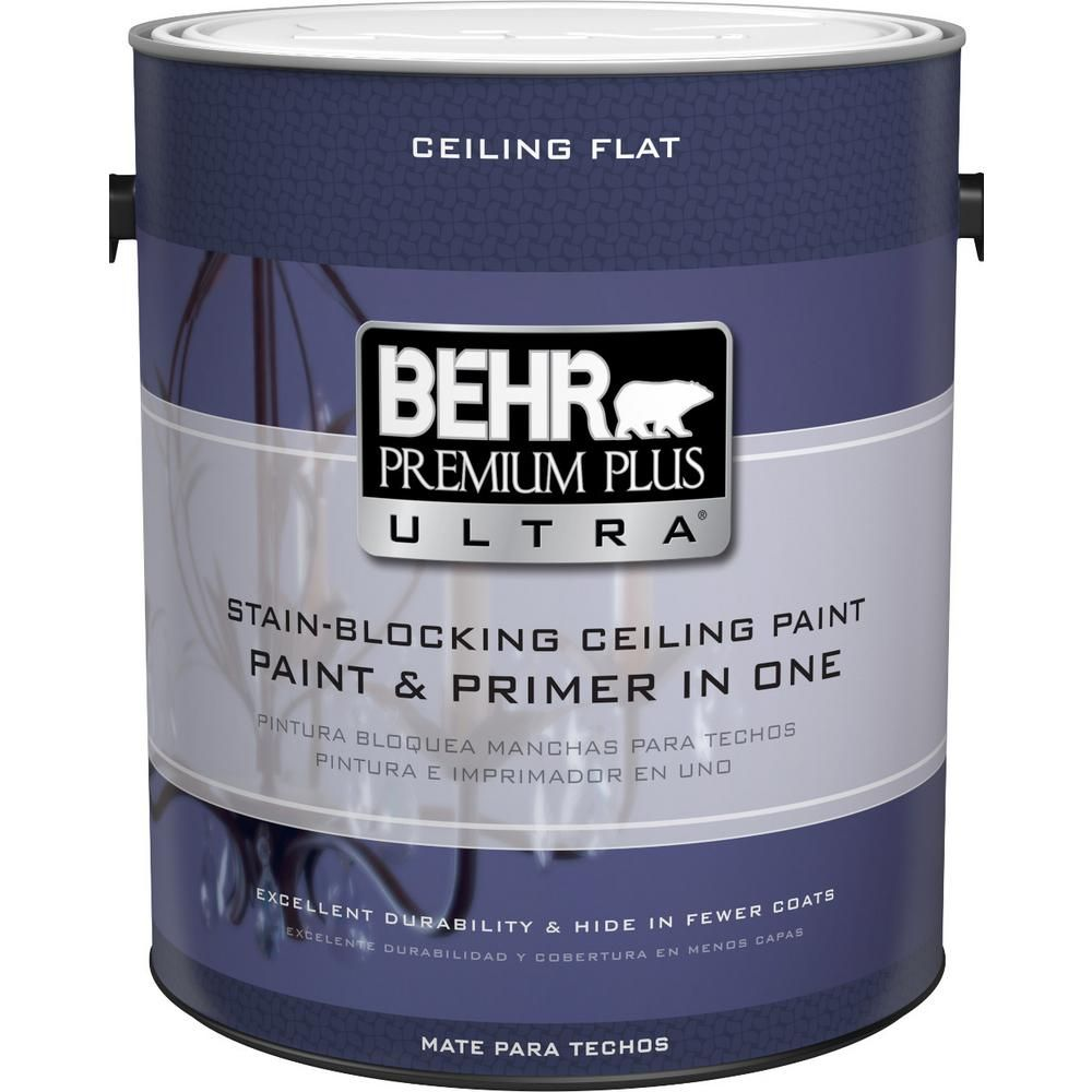 Behr Premium Plus Ultra 1 Gal Pure White Ceiling Paint 555801 The Home Depot