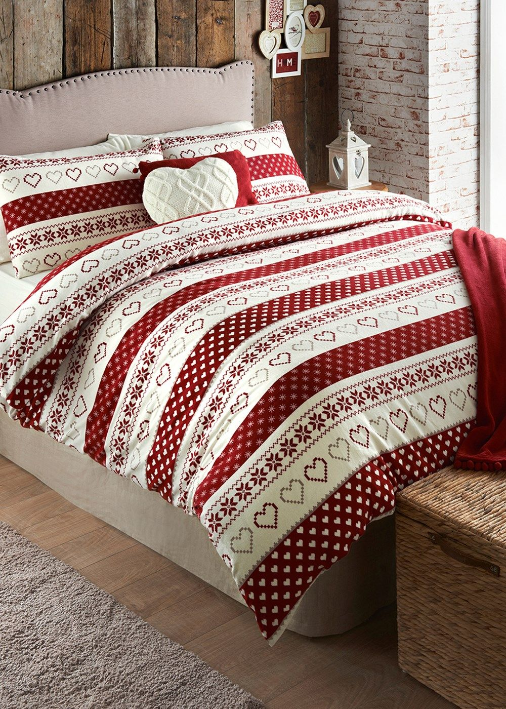 brushed cotton fairisle print duvet set king size 35 at matalan