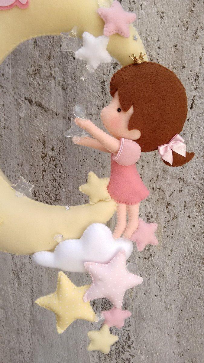 Guirlanda Maternidade Boneca Em Feltro Brinquedos De Feltro