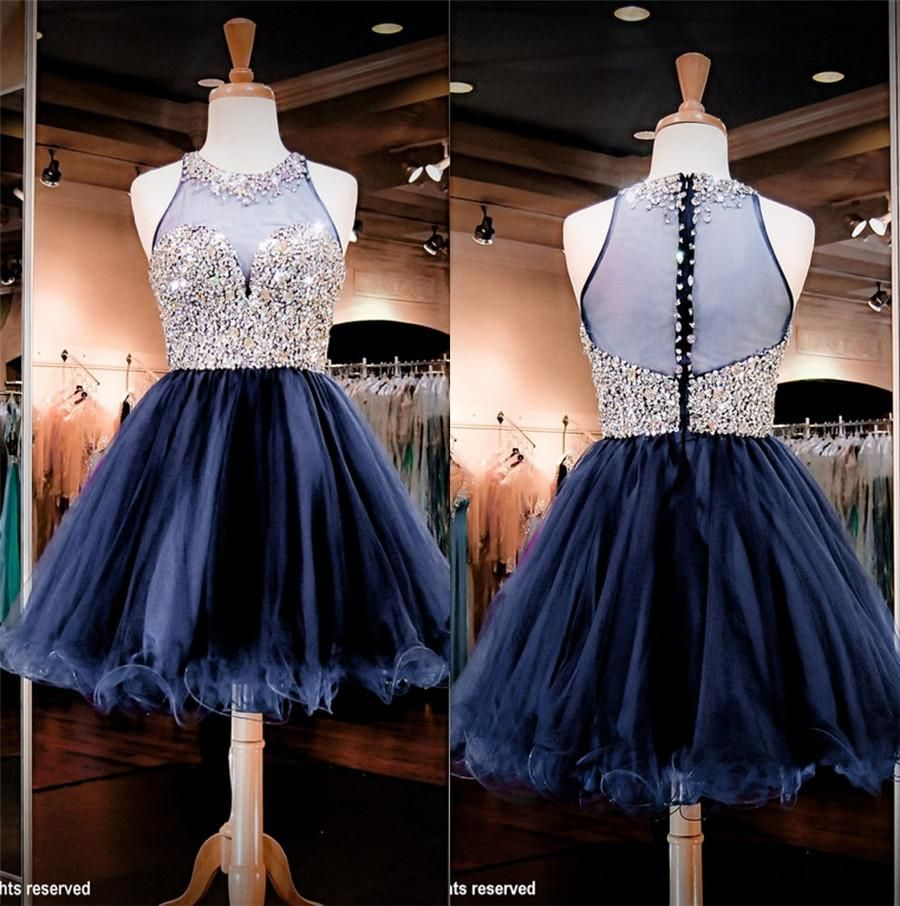 Bling crystals homecoming dresses jewel neck sheer back tulle