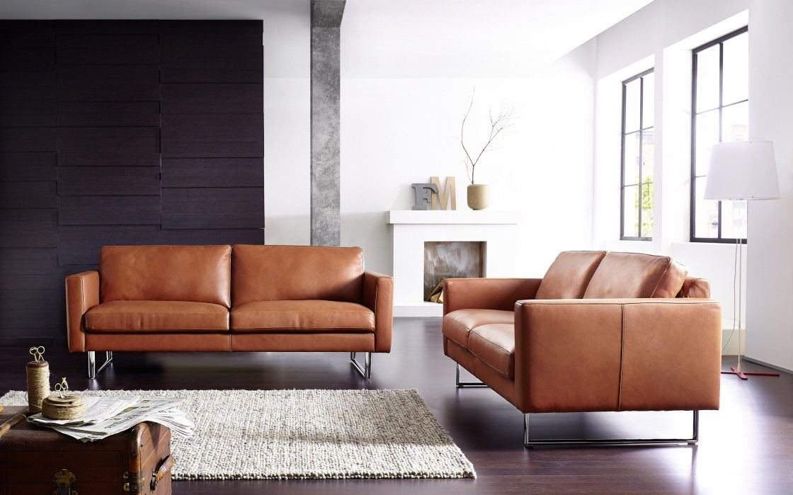Ledercouch Cognac Stylish Modern Brown Upholstery Leather Loveseat Sofas