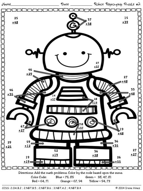 Robot Regrouping Addition Math Printables Color By The