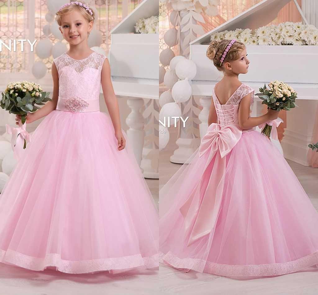 Custom Made 2016 New Pink Flower Girls Dresses For Wedding Sheer ...