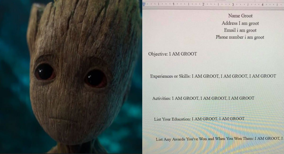 This Kid Pretended To Be Groot On A Resume And It S Hilarious Homework Assignments I Am Groot Groot