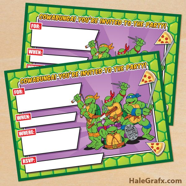 retro TMNT invite 5x7 FREE Printable Retro TMNT Ninja Turtle