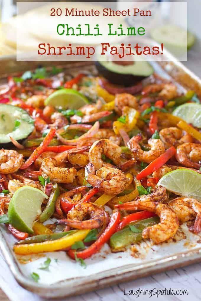 Sheet Pan Chili Lime Shrimp Fajitas | Laughing Spatula