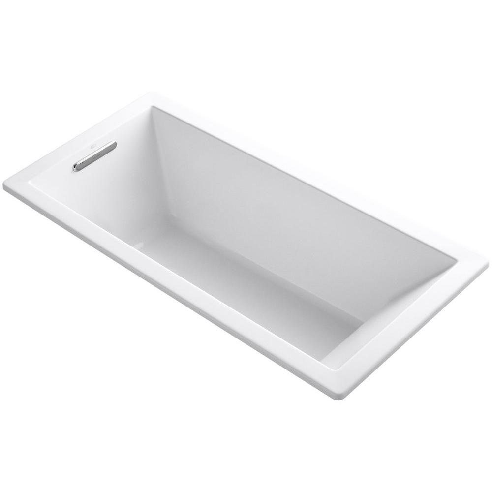 Kohler underscore 5 5 ft acrylic rectangular drop in non whirlpool bathtub in white