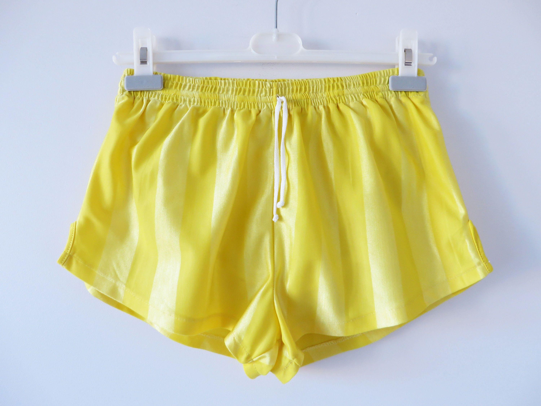 2fba57e363 Yellow Running Shorts Vintage 80's Shorts Shiny Yellow Shorts Unisex Jogger  Shorts Yellow Athletic Wear Men Beach Swimwear Small Size Shorts by ...