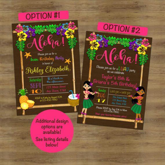 Luau Birthday Invitation Luau Invitation Hawaiian Invitation