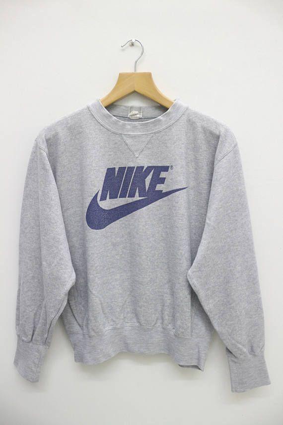 78a227c6291f2 NIKE Big Logo Gray Pullover Sweatshirt Sweater Size L #nikewomen ...