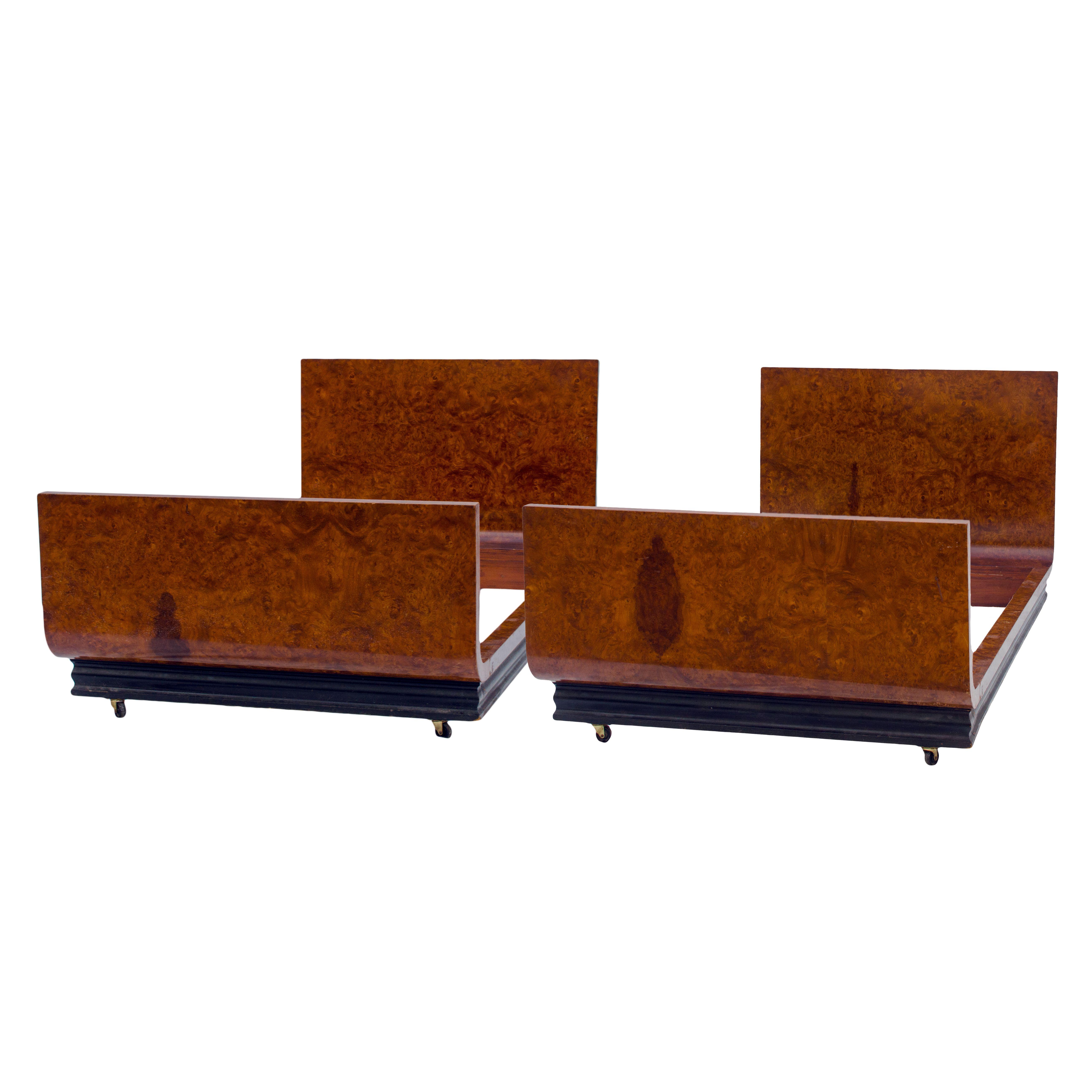 Donald Deskey Carpathian Elm Twin Beds for Co