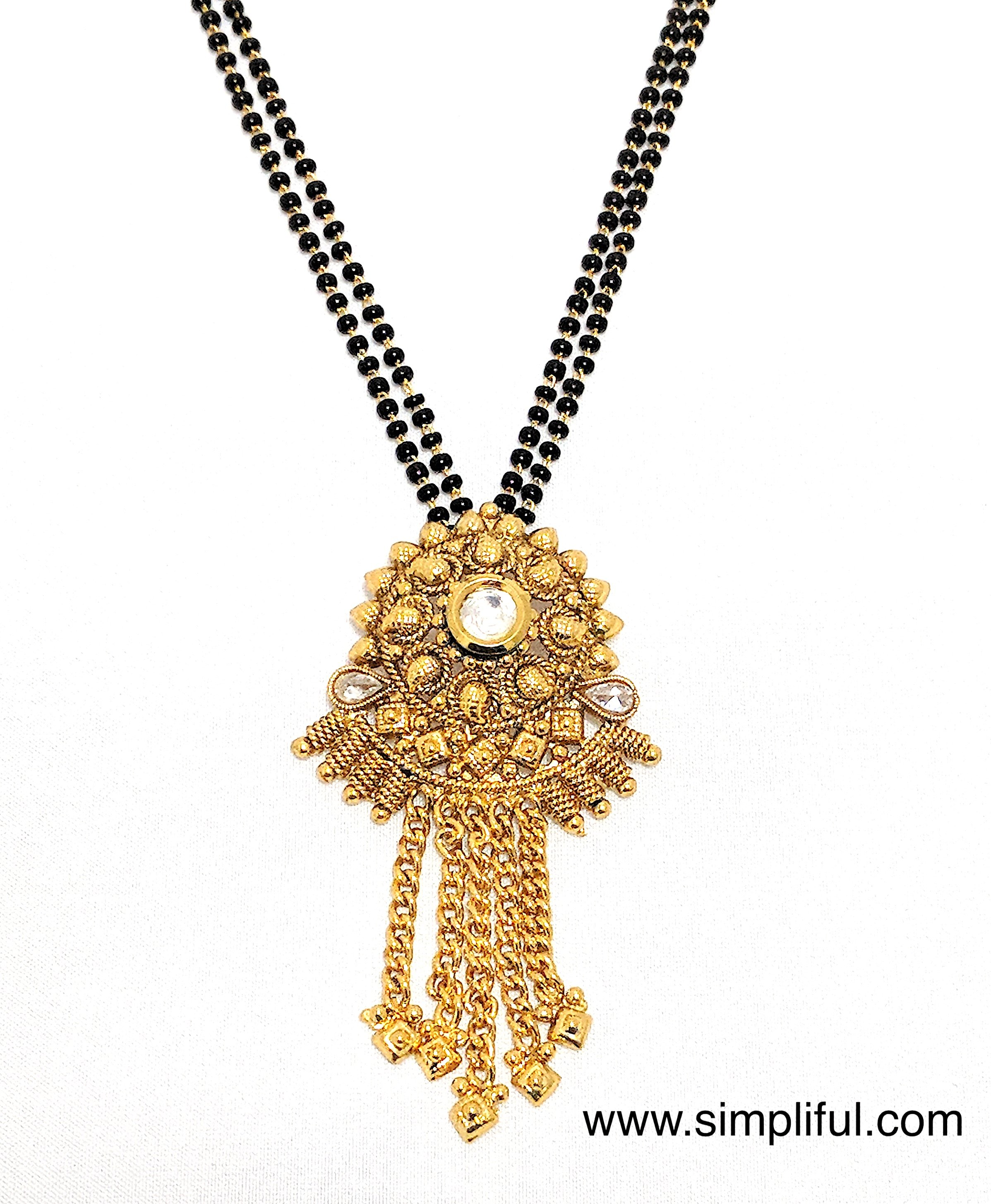 Antique gold pendant mangalsutra double chain