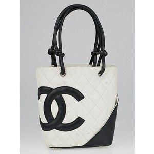 e66b7be2bb4e Pre-owned Chanel White Black Quilted Ligne Cambon Small Tote Bag ...