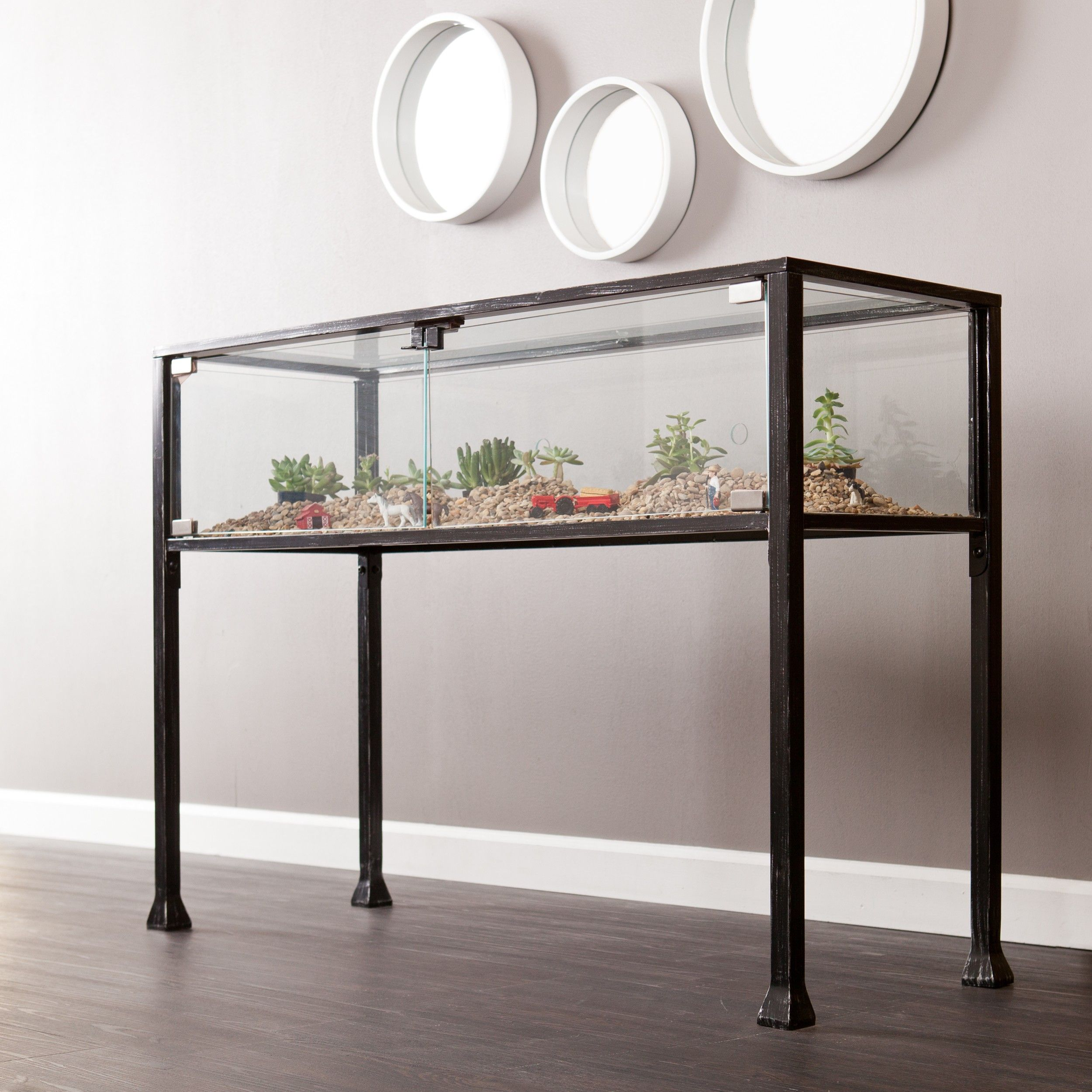 Terrarium Black Console Table with Glass Panels
