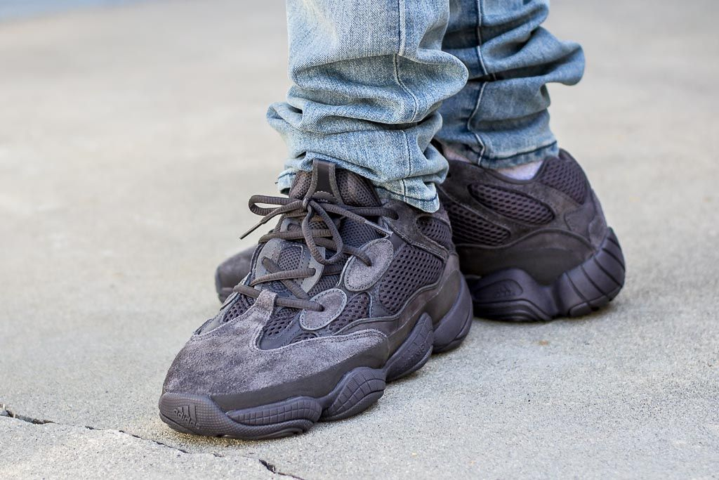 buy popular 92184 bb93b Adidas Yeezy 500 Utility Black On Feet Sneaker Review ...