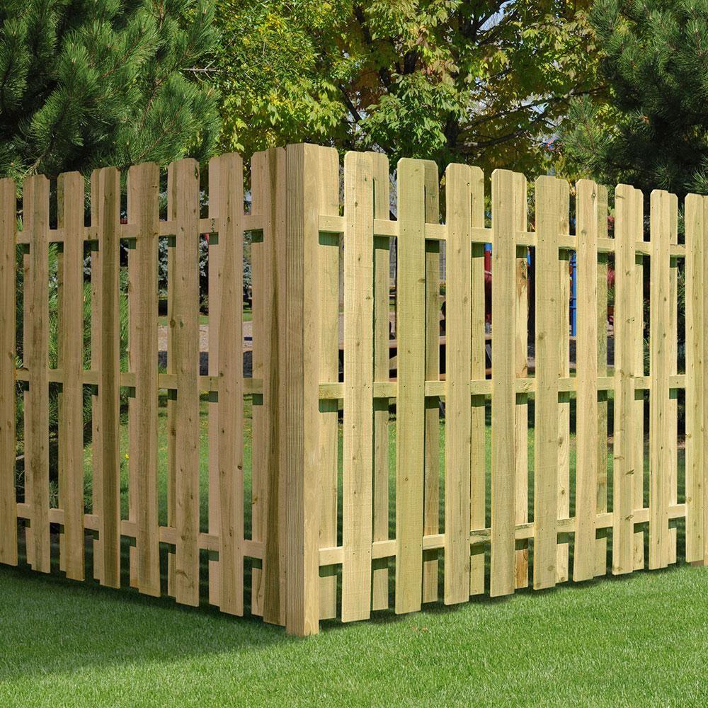 6 ft h x 8 ft w pressuretreated pine shadowbox fence