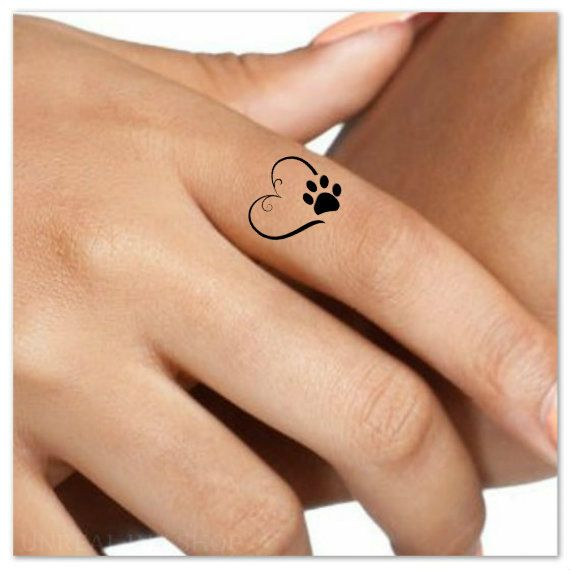 Temporary Tattoo 4 Heart Paw Finger Fake Tattoos Waterproof Thin Durable Fake