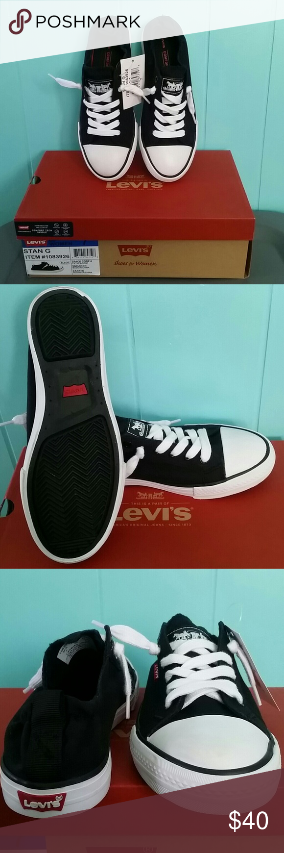 56bec8f8a20bb5 NIB Stan G Levis Black Sneaker Canvas upper with comfort tech insole. Levi s  Shoes Sneakers