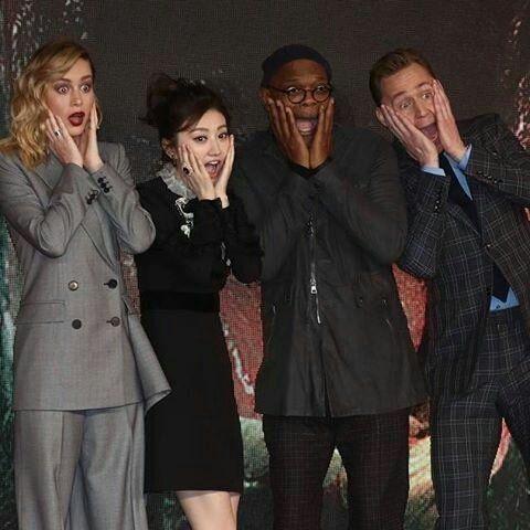 Tom Hiddleston, Brie Larson, Samuel L. Jackson and Jing