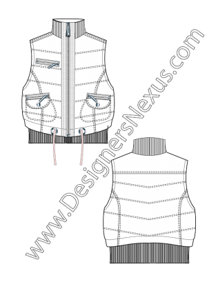 002 Flat Sketch Zip Front Puffer Vest Funnel Collar Free Download And More Flat Fashion Sketches In Ill Flat Sketches Fashion Flats Fashion Design Portfolio