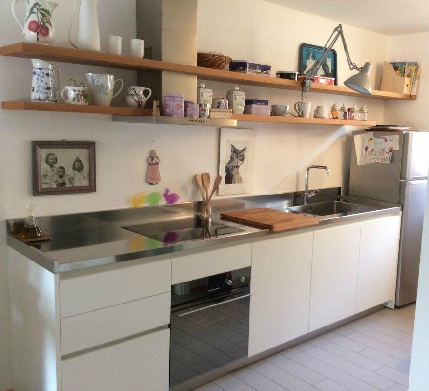 Mensole Di Acciaio Per Cucina.C116 Cucina Lineare Con Mensole Cucine In Acciaio Inox