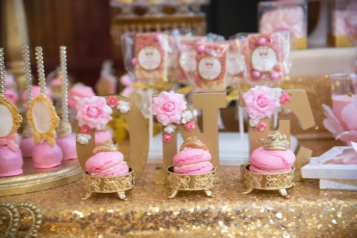 Gold Floral Block Letter Sign From A Royal Princess Birthday Party On Karas Ideas