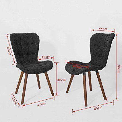 SoBuyR 2x FST41 DG Lot De 2 Chaise Design Pour Cuisine Salle Manger