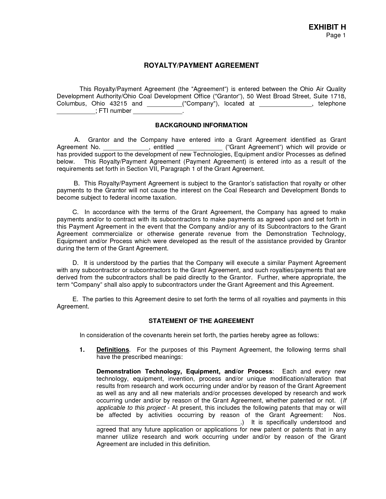 Royalty Agreement  Pdf By Oly  Royalty Agreement Contract
