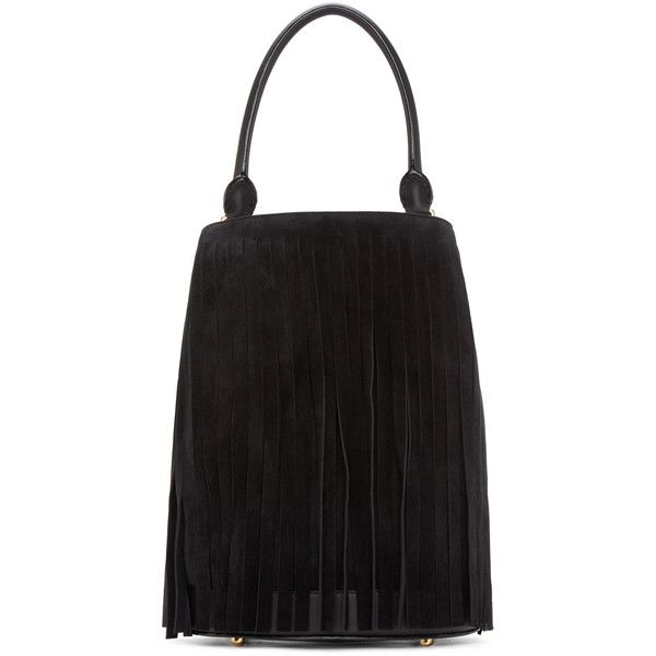 Burberry Prorsum Black Suede Fringed Large Bucket Bag (€2.175) ❤ liked on Polyvore featuring bags, handbags, shoulder bags, fringe purse, black studded handbag, fringe shoulder bag, black bucket bag en suede fringe handbag