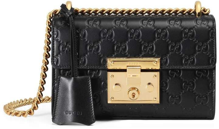 f0fe9bbbf187 Gucci Small Padlock Signature Leather Shoulder Bag