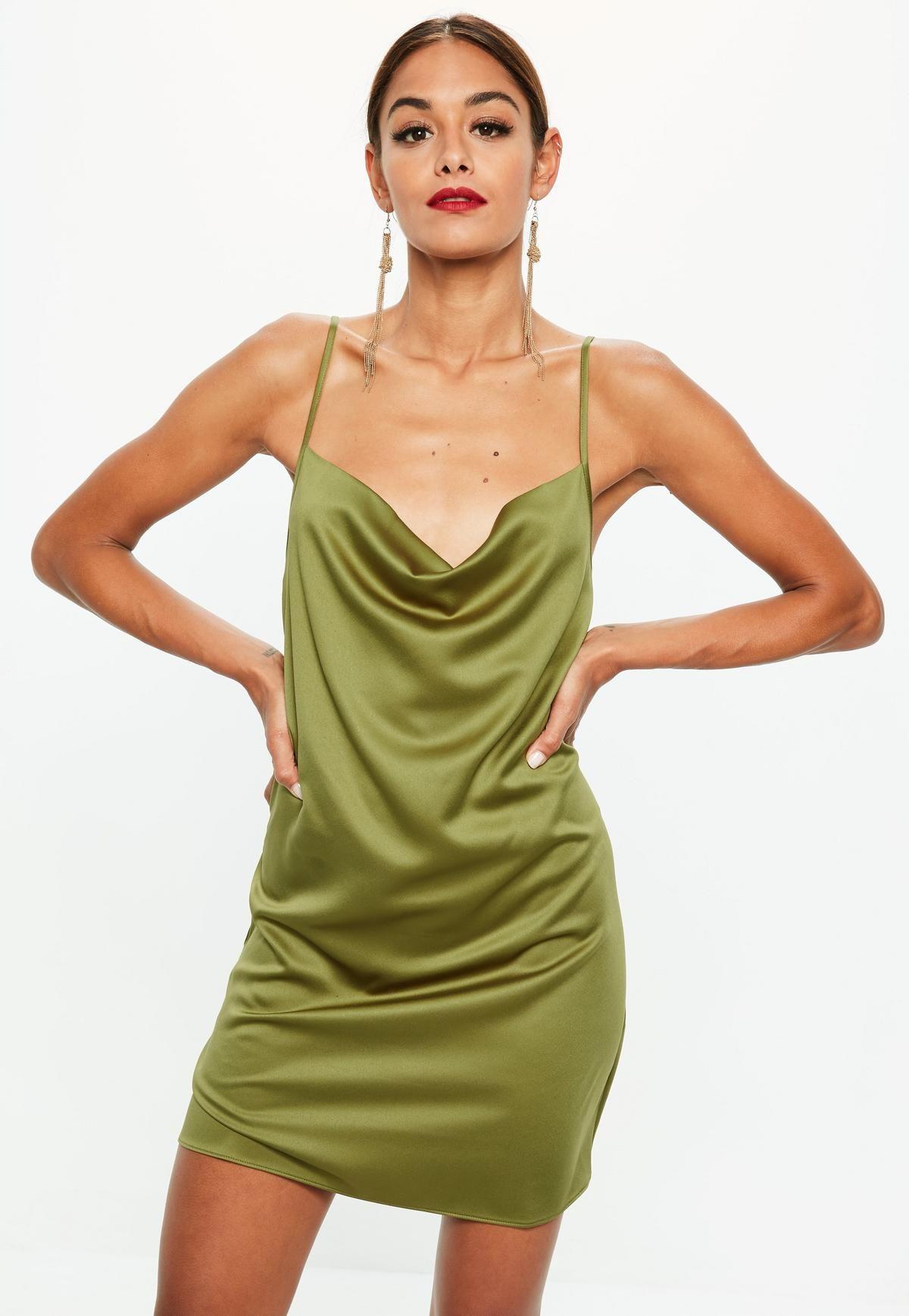 973ac3df9cd5 Khaki Satin Strappy Cowl Shift Dress   Costume   Satin dresses ...