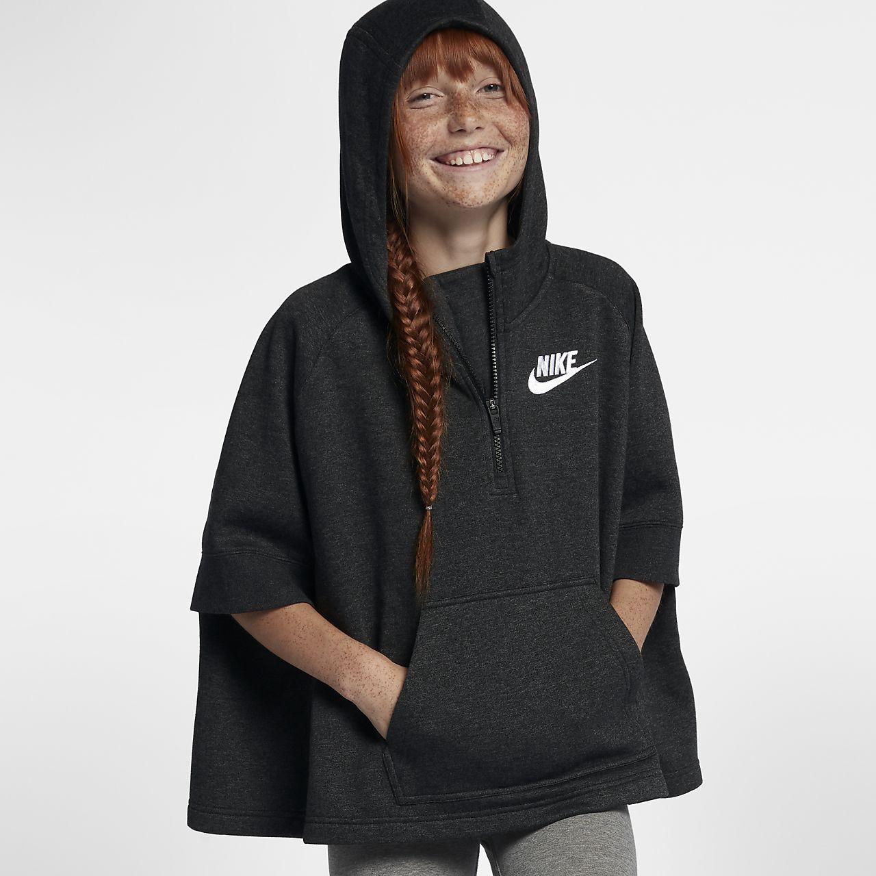 f78c4a7a09be Nike Sportswear Big Kids  (Girls ) Pullover Half-Zip Poncho - M (10 ...