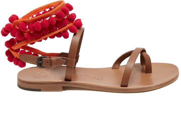 53cffc7c169d8e ÁLVARO Anna pompom-embellished leather sandals
