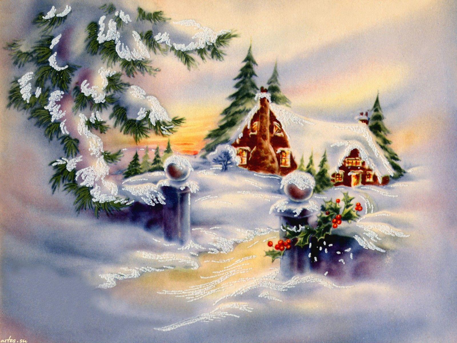 Рождественские и новогодние открытки картинки